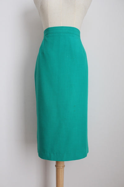 VINTAGE TURQUOISE GREEN PENCIL SKIRT - SIZE 12