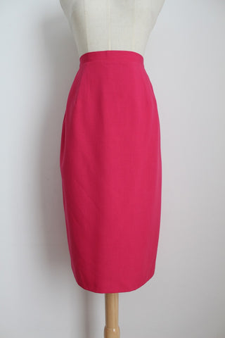VINTAGE HOT PINK MIDI PENCIL SKIRT - SIZE 10
