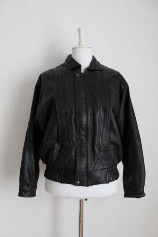 GENUINE LEATHER VINTAGE PATCH BOMBER JACKET - SIZE 12