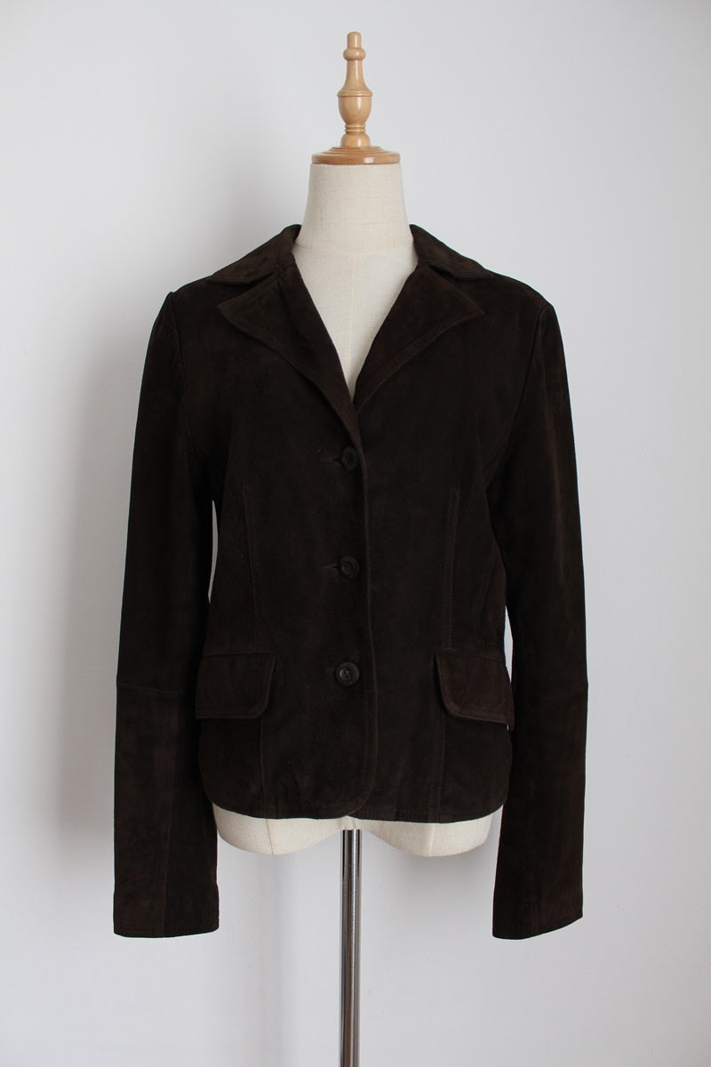VINTAGE STREET ONE GENUINE SUEDE LEATHER JACKET - SIZE 12