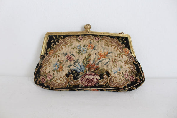 VINTAGE NEEDLEPOINT FLORAL EVENING BAG