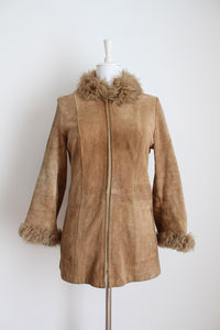 GENUINE SUEDE SHEEPSKIN LEATHER VINTAGE TAN COAT - SIZE 10
