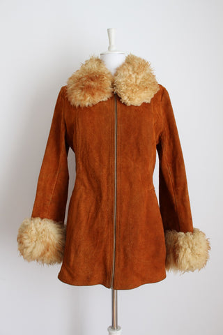 GENUINE SUEDE SHEEPSKIN LEATHER VINTAGE COGNAC COAT - SIZE 12
