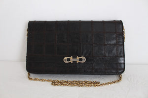 GENUINE LIZARD SKIN VINTAGE PATCHWORK CLUTCH BAG