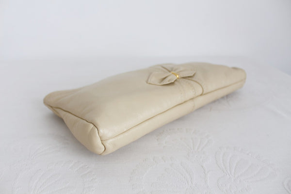 VINTAGE BEIGE GENUINE LEATHER CLUTCH BAG