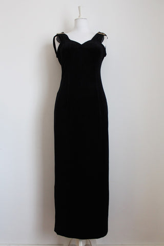 VINTAGE VELVET CHIFFON BLACK EVENING DRESS - SIZE 12-14