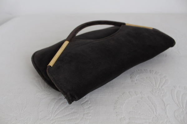 VINTAGE GREY VELVET FOLD-OVER CLUTCH BAG