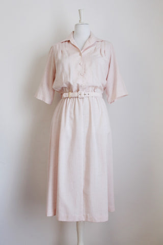 VINTAGE PASTEL PINK BELTED DAY DRESS - SIZE 12