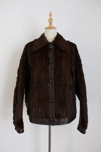 GENUINE MINK FUR VINTAGE LEATHER JACKET - SIZE 12