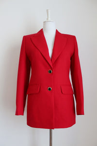 VINTAGE WOOL RED FITTED BLAZER - SIZE 8