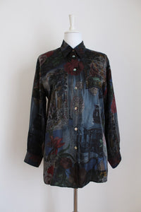 VINTAGE VERSAILLES INSPIRED PRINT SHIRT - SIZE 12