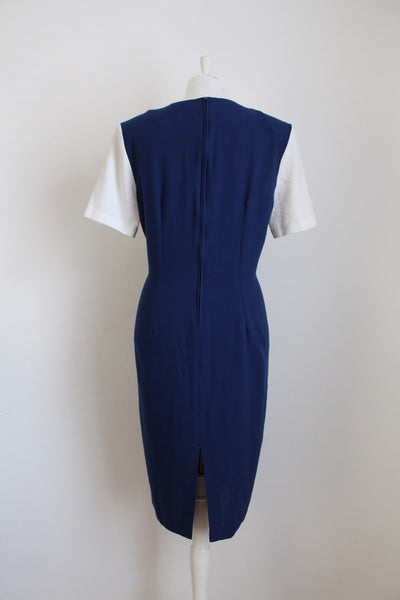 VINTAGE BLUE WHITE CUT-OUT FITTED SHIFT DRESS - SIZE 12