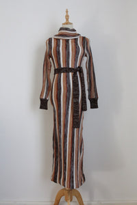 VINTAGE BROWN STRIPE POLO NECK JERSEY DRESS - SIZE 6