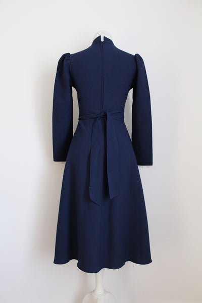 VINTAGE NAVY BLUE LACE HIGH COLLAR DRESS - SIZE 6