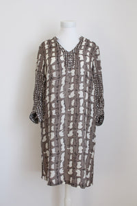 100% SILK HILTON WEINER PRINTED KAFTAN DRESS - SIZE S