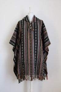 VINTAGE WOVEN COTTON STRIPE PONCHO COAT - ONE SIZE