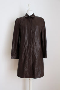 GENUINE LEATHER BROWN COAT JACKET - SIZE 12