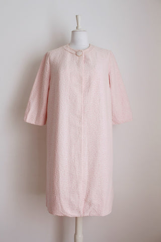 VINTAGE PINK WHITE SWING COAT - SIZE 12