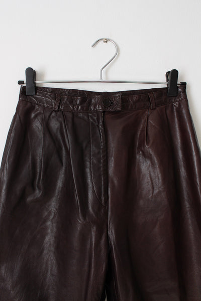GENUINE LEATHER VINTAGE HIGH WAIST TROUSERS - SIZE 8