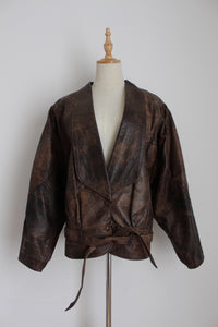 GENUINE LEATHER VINTAGE BROWN BOMBER JACKET - SIZE 10