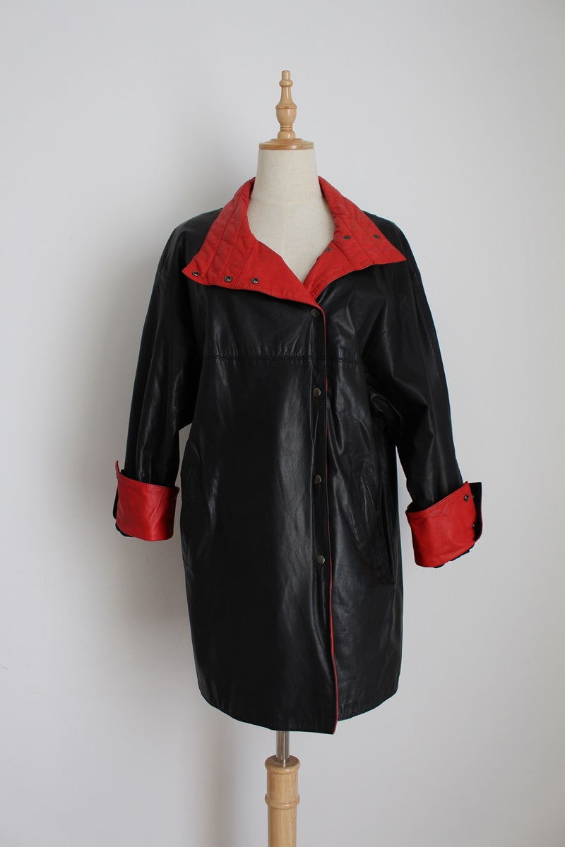 GENUINE LEATHER VINTAGE BLACK RED JACKET - SIZE 8
