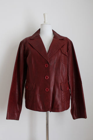 GENUINE PIG SKIN LEATHER RED JACKET - SIZE 18