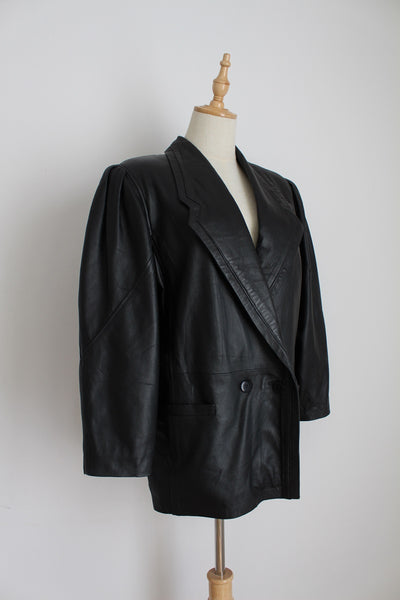 GENUINE LEATHER VINTAGE BLACK DOUBLE BREASTED JACKET - SIZE 10