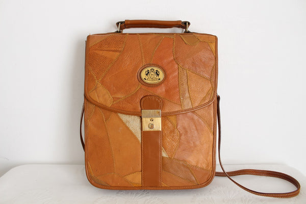 VINTAGE GENUINE LEATHER TAN PATCH SATCHEL