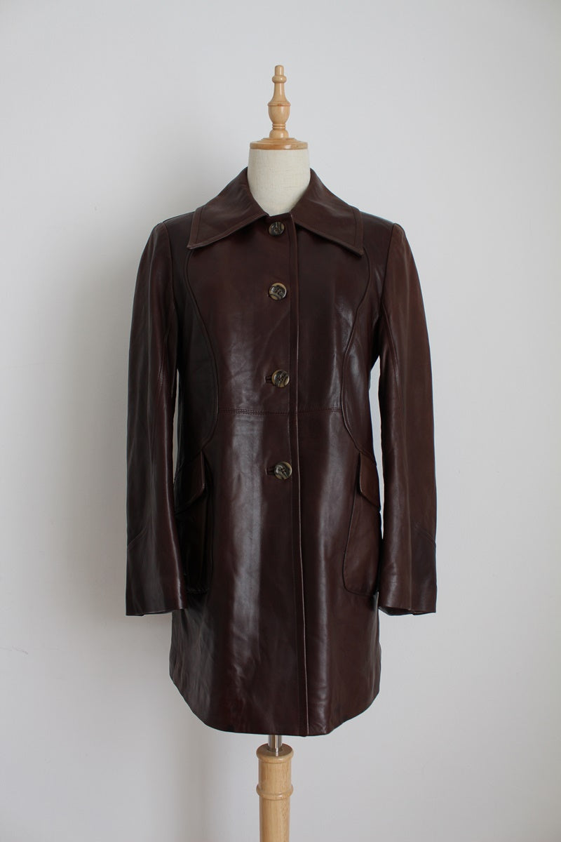 GENUINE LEATHER VINTAGE BROWN SOFT JACKET - SIZE 12