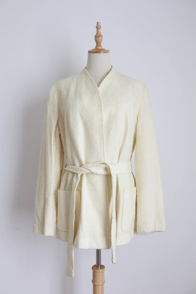 VINTAGE BOUCLE KNIT CREAM TIE WAIST JACKET - SIZE 16