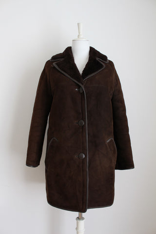 GENUINE LAMBSKIN LEATHER VINTAGE FUR JACKET - SIZE 14