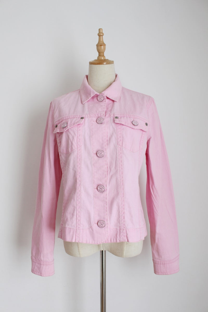 ESCADA SPORT PINK DENIM JACKET - SIZE 12
