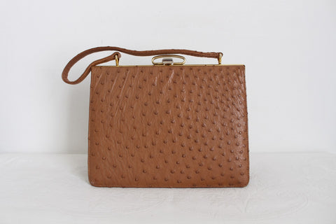 GENUINE OSTRICH SKIN TAN VINTAGE KELLY BAG