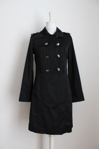 STUDIO W BLACK DOUBLE BREASTED COAT - SIZE 10