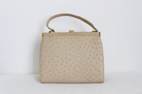 GENUINE OSTRICH SKIN CREAM VINTAGE KELLY BAG