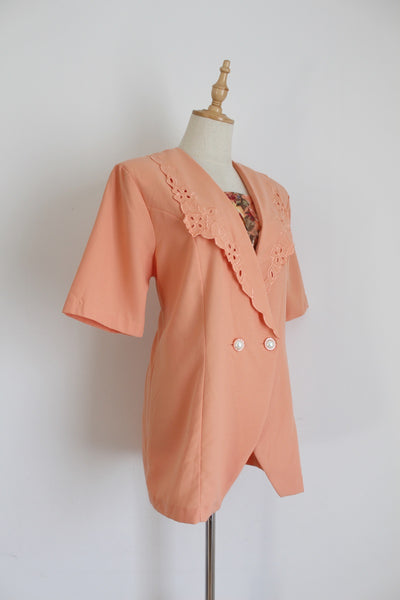 VINTAGE PEACH EMBROIDERY DOUBLE BREASTED SHIRT - SIZE 12