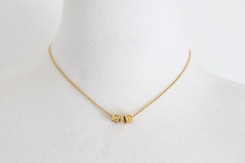 CHRISTIAN DIOR DESIGNER VINTAGE GOLD TONE NECKLACE