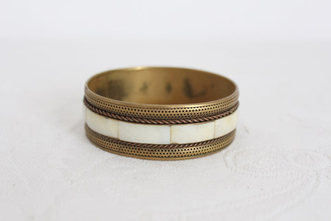 VINTAGE MOTHER OF PEARL BRASS BANGLE