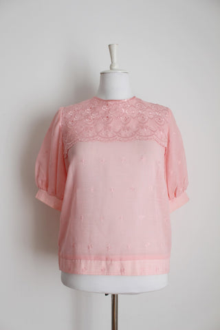 VINTAGE PINK BRODERIE ANGLAISE BLOUSE - SIZE 10