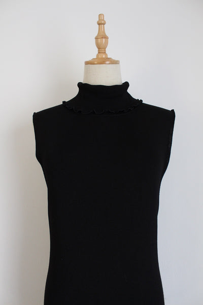 OUI DESIGNER KNITTED SLEEVELESS POLO NECK DRESS - SIZE L