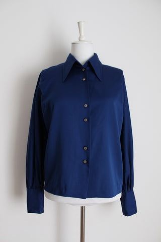 VINTAGE NAVY BLUE LONG SLEEVE BLOUSE - SIZE 14