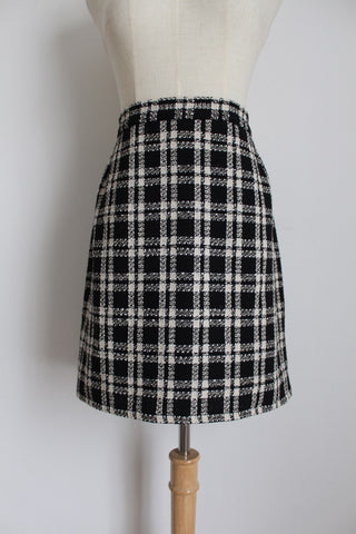 VINTAGE BLACK WHITE CHECK PENCIL SKIRT - SIZE 14