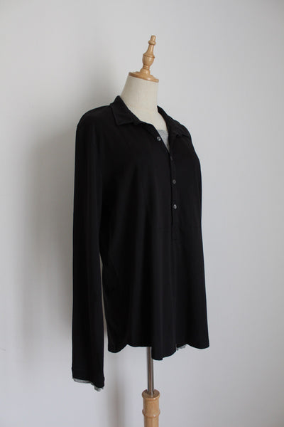 JOOP! MEN'S BLACK HENLEY SHIRT - SIZE S/M