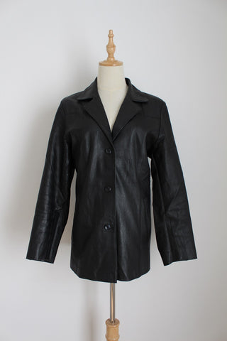 GENUINE LEATHER VINTAGE BLACK TAILORED JACKET - SIZE 12