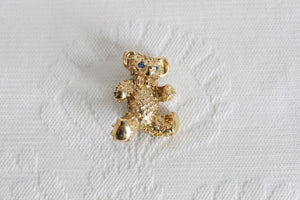 VINTAGE TEDDY BEAR GOLD TONE BROOCH PIN