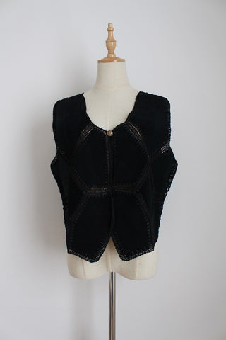 GENUINE SUEDE LEATHER VINTAGE BLACK WAISTCOAT - SIZE 14