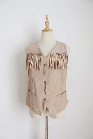 GENUINE SUEDE LEATHER VINTAGE BEIGE WAISTCOAT - SIZE 10