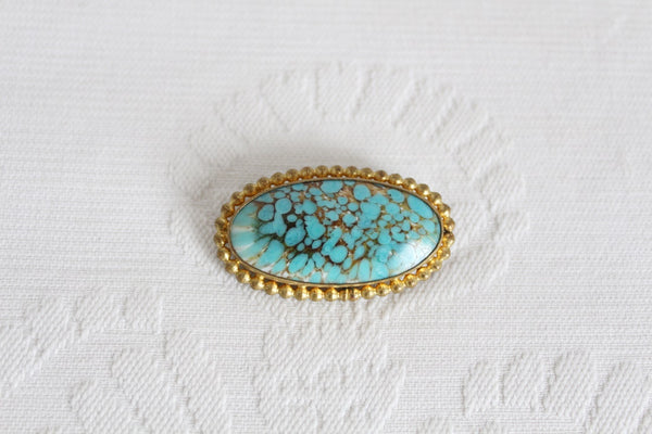 VINTAGE TURQUOISE GOLD TONE OVAL BROOCH PIN