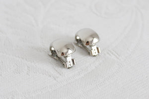 VINTAGE CHUNKY SILVER TONE CLIP-ON EARRINGS