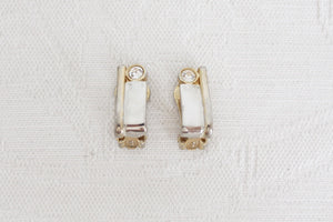 VINTAGE CHUNKY SILVER GOLD TONE CLIP-ON EARRINGS
